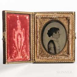 Ninth-plate Daguerreotype of a Folk Portrait of a Young Girl