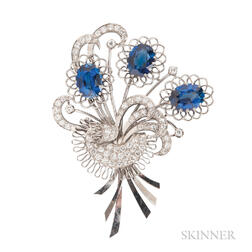 Synthetic Sapphire and Diamond Brooch