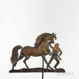 Molded and Sheet Copper Gilt and Paint-decorated Horse and Groom Weathervane