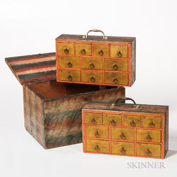 Paint Decorated Box with Two Interior Cases of Drawers