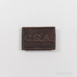 "Confederate Rectangular ""CSA"" Belt Plate"