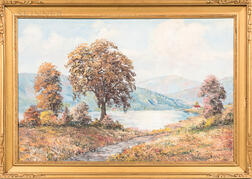 European School, 20th Century      Fall Landscape with Lake