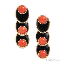 14kt Gold, Coral, and Black Onyx Earrings