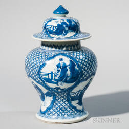 Three Blue and White Covered Ginger Jars
