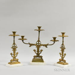 American Brass and Marble Three-piece Girandole