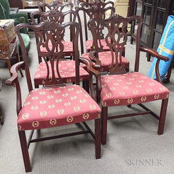 Set of Six Chippendale-style Carved Mahogany Dining Chairs