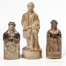 Three Stoneware Figural Flasks