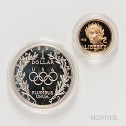 1988-S Olympic Commemorative Proof $5 Gold Coin and a 1988-S Proof $1.