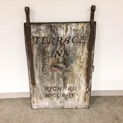 Terrace Inn/Richard Curry Painted Wood and Wrought Iron Trade Sign