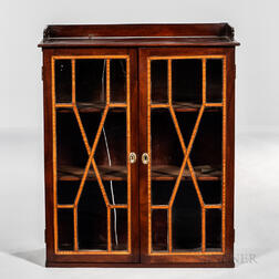 Glazed Inlaid Mahogany Wall Cupboard