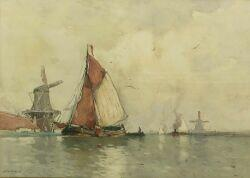 Hendrick (Henry) Cassiers (Belgian, 1858-1944)  Harbor View with Ketches and Windmills