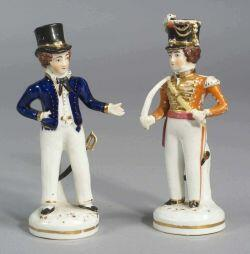 Two Polychrome Porcelain Figures of Gentleman