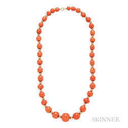 14kt Gold and Coral Bead Necklace