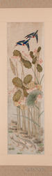 Pair of Hanging Scrolls Depicting Blooming Lotuses