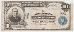 1902 The New Albany National Bank Plain Back $10 Note