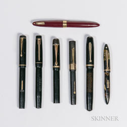 Seven User or Parts Fountain Pens