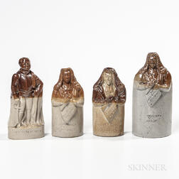 Four Stoneware Figural Flasks