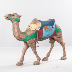 Carved and Painted Camel Outside Stander Carousel Figure