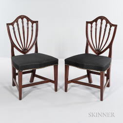 Pair of Carved Mahogany Shield-back Side Chairs