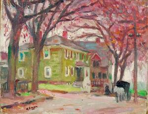 Robert Henry Logan (American, 1874-1942)    Lot of Two: Green House and Horse Cart