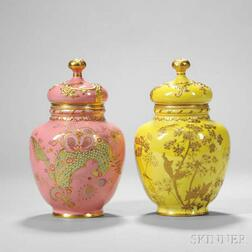 Two Royal Crown Derby Porcelain Jars and Covers