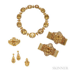 Antique Gold and Citrine Parure
