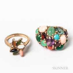 Two Gemstone- and Hardstone-set Rings
