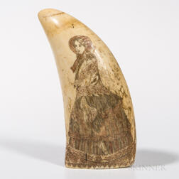 Scrimshaw and Polychrome Decorated Whale's Tooth