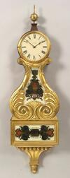 Federal-Style Mahogany and Gilt Gesso Lyre Banjo Timepiece