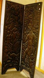 Ethnographic Carved Wood Two-Panel Floor Screen.