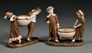 Pair of Royal Worcester Figural Sweetmeat Dishes