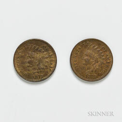 Two 1875 Indian Head Cents
