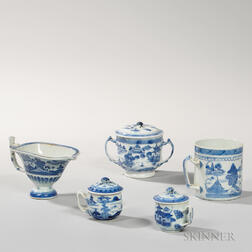 Five Canton Export Porcelain Table Items