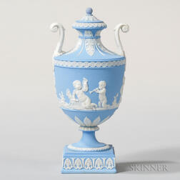 Wedgwood Solid Light Blue Jasper Vase and Cover
