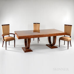 Art Deco Revival Dining Table and Ten Chairs