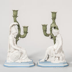 Pair of Modern Wedgwood Tricolor Jasper Minerva and Diana Candleholders
