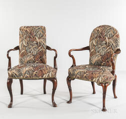 Near Pair of Georgian-style Upholstered Mahogany Armchairs