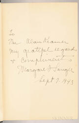 Sanger, Margaret (1879-1966) An Autobiography  , Signed First Edition.
