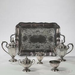 Five-piece Reed & Barton Sterling Silver Tea and Coffee Service with Associated Silver-plate Tray