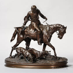 After Pierre Jules Mêne (French, 1810-1879)   Bronze Figure of a Huntsman with Two Hounds