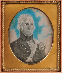 Sixth-plate Daguerreotype of Folk Portrait of Military Officer