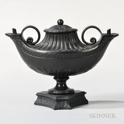 Wedgwood & Bentley Black Basalt Double Oil Lamp and Cover