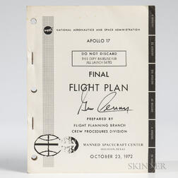 Apollo 17, Final Flight Plan Signed by Eugene Cernan.