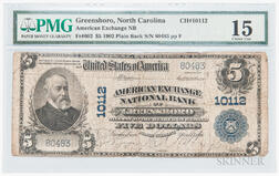 1902 The American Exchange National Bank of Greensboro Plain Back $5 Note, PMG Choice Fine 15