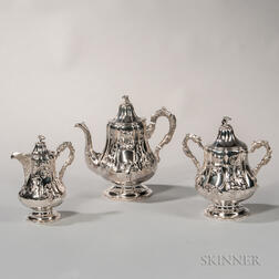 Three-piece Charters, Cann & Dunn Coin Silver Tea Service