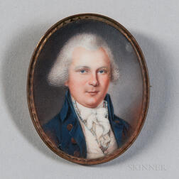 Attributed to John Ramage (New York/Canada, 1748-1802)      Miniature Portrait of a Man in a Blue Jacket