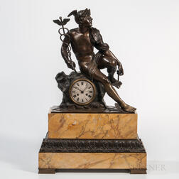 Bronze and Marble Mantel Clock