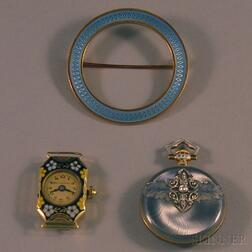 Two Enameled Watches and a Brooch