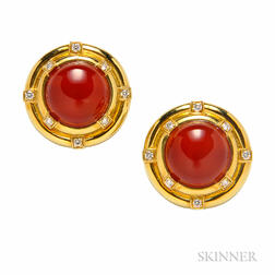 18kt Gold, Carnelian, and Diamond Earclips