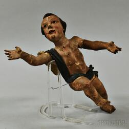 Carved Polychrome Painted Putto